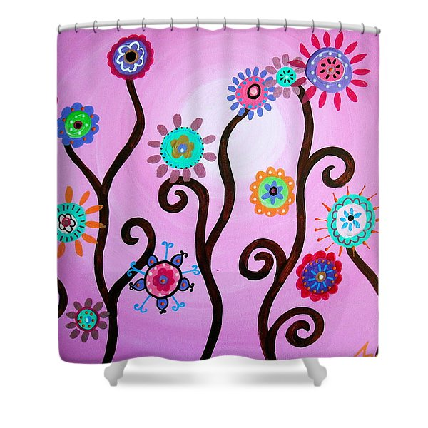 Flower Fest Shower Curtain by Pristine Cartera Turkus