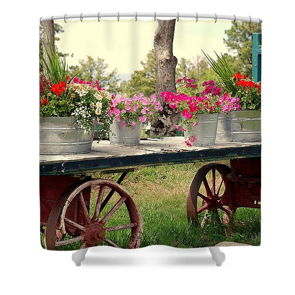 Flower Wagon Shower Curtain by Susanne Van Hulst