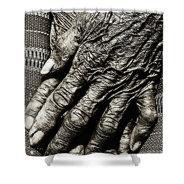 Folded Hands Shower Curtain by Skip Nall