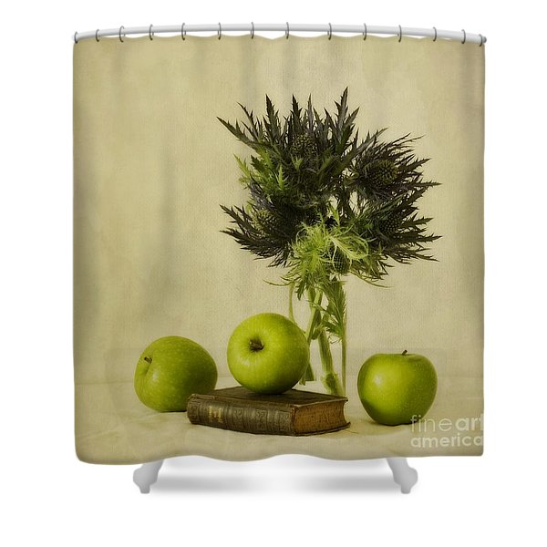 green apples and blue thistles Shower Curtain by Priska Wettstein