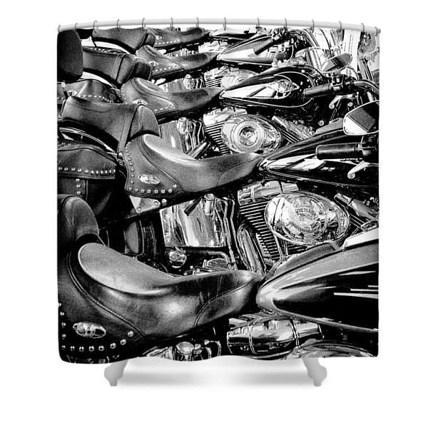 I'll Have a Dozen Harley's to Go Please Shower Curtain by David Patterson