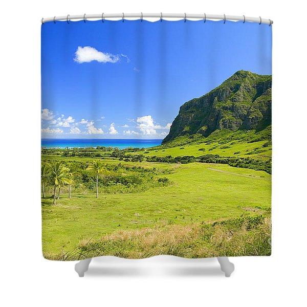 Kualoa Ranch Mountains Shower Curtain by Dana Edmunds - Printscapes