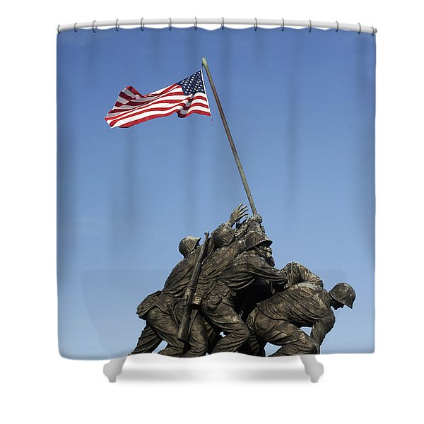 Raising The Flag On Iwo Shower Curtain by Paul W Faust -  Impressions of Light