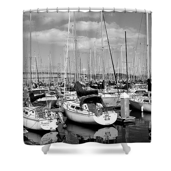 Sail Boats at San Francisco China Basin Pier 42 With The Bay Bridge in The Background . 7D7666 Shower Curtain by Wingsdomain Art and Photography