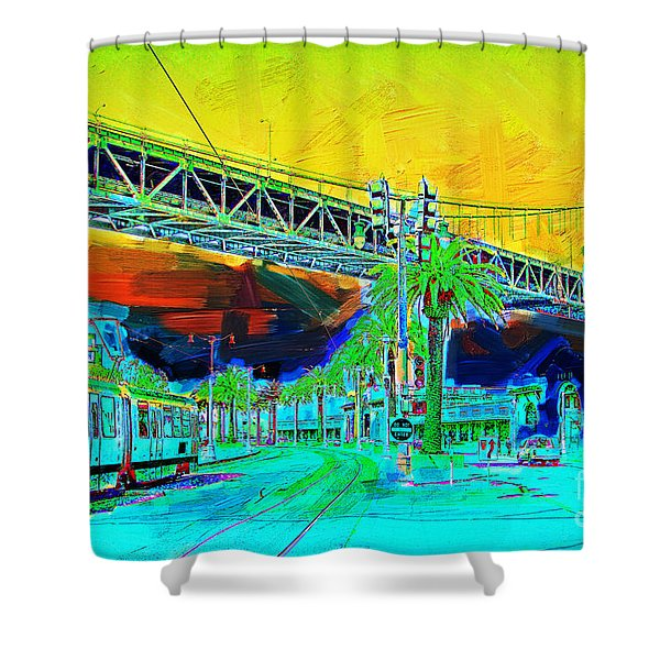 San Francisco Embarcadero And The Bay Bridge Shower Curtain by Wingsdomain Art and Photography