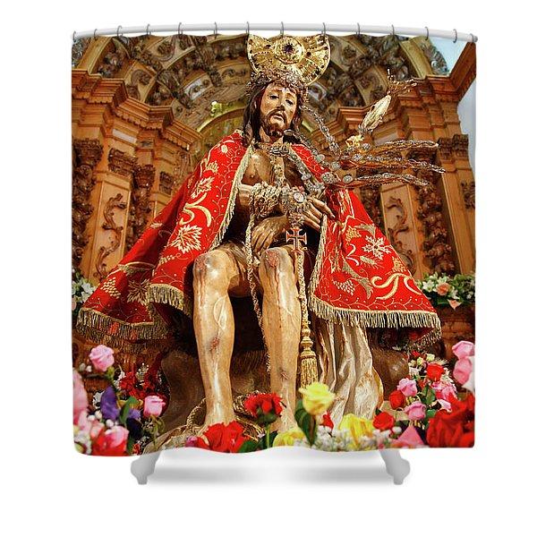 Senhor Bom Jesus da Pedra Shower Curtain by Gaspar Avila