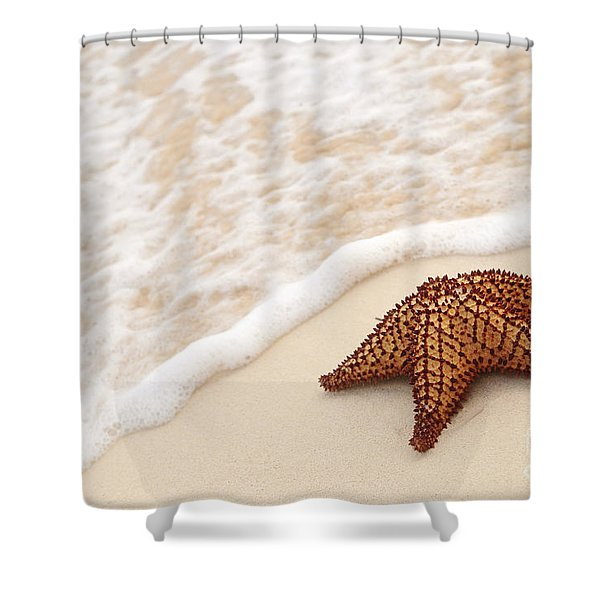 Starfish and ocean wave Shower Curtain by Elena Elisseeva