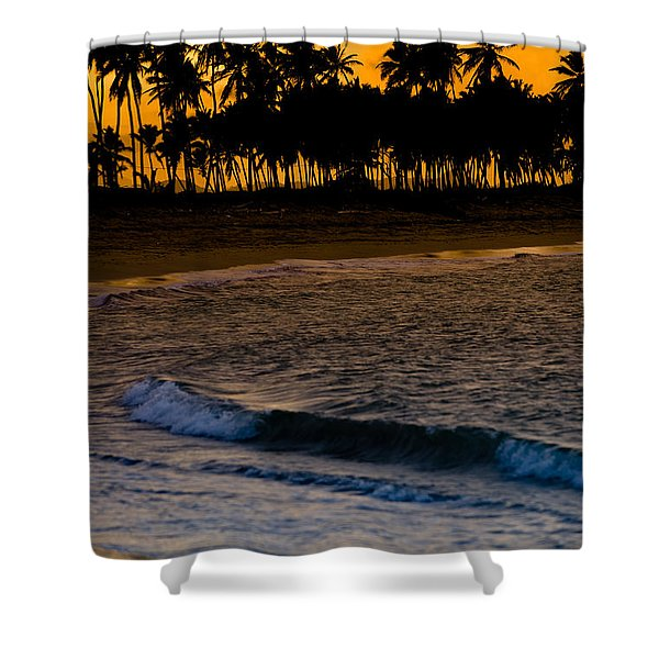Sunset At The Beach Shower Curtain by Sebastian Musial