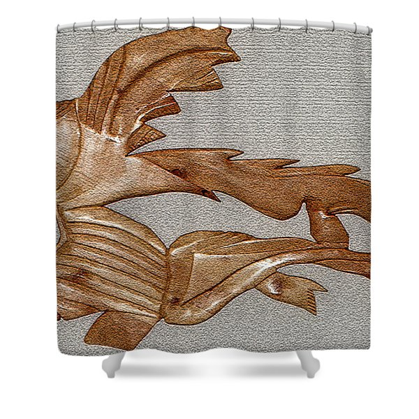 The Fish Skeleton Shower Curtain by Robert Margetts