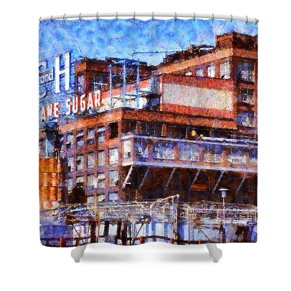 The Old C And H Pure Cane Sugar Plant In Crockett California . 5d16769 Shower Curtain by Wingsdomain Art and Photography