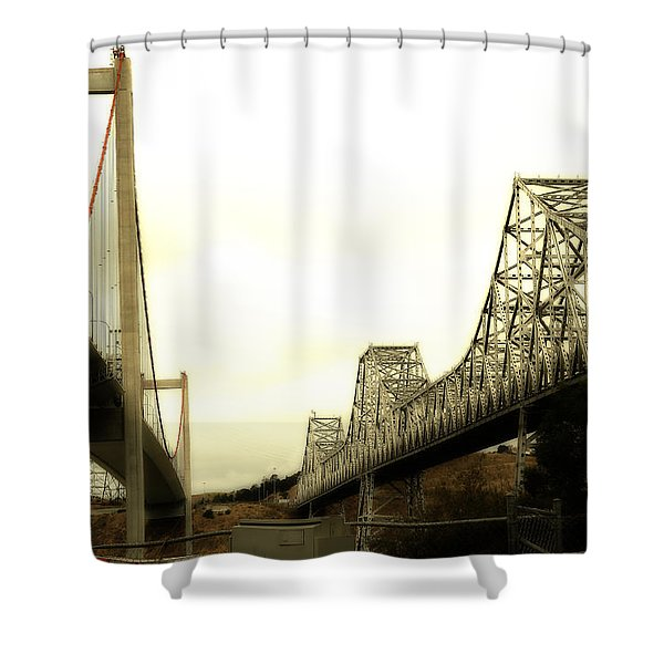 The Two Carquinez Bridges At Crockett and Vallejo California . aka Alfred Zampa Memorial Bridge . 7D8830 Shower Curtain by Wingsdomain Art and Photography