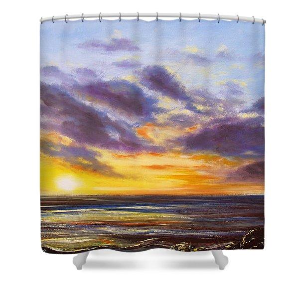 Tropical Sunset Shower Curtain by Gina De Gorna