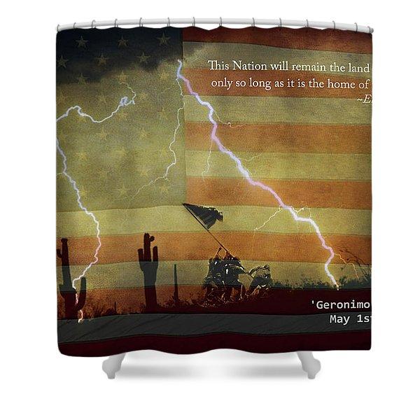 Usa Patriotic Operation Geronimo-e Kia Shower Curtain by James BO  Insogna