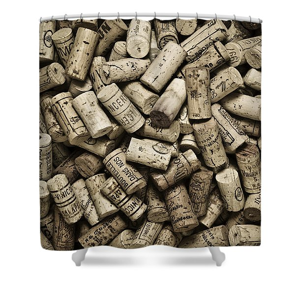 Shower Curtains - Vintage Wine Corks Shower Curtain by Frank Tschakert
