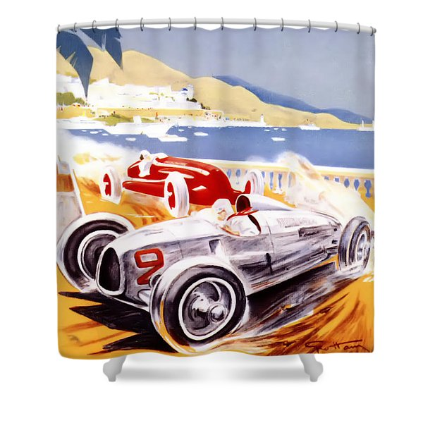 1936 F1 Monaco Grand Prix  Shower Curtain by Nomad Art And  Design