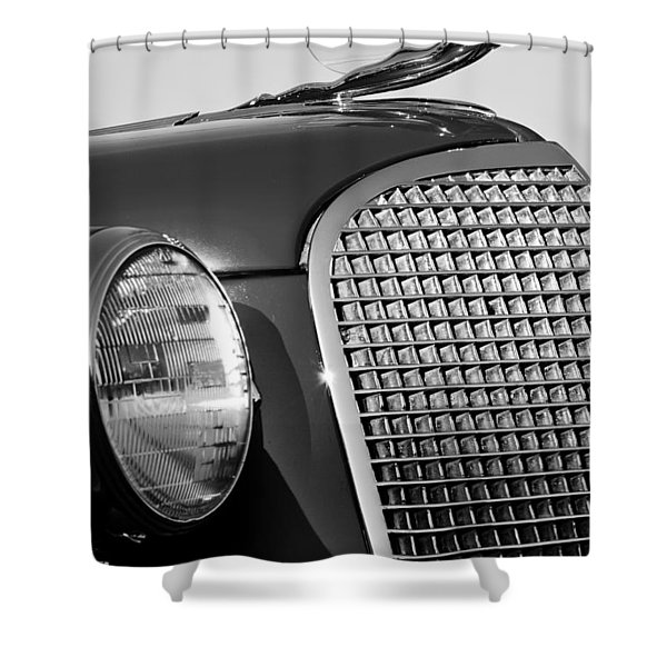 1937 Cadillac V8 Hood Ornament 3 Shower Curtain by Jill Reger