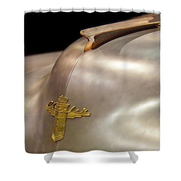 1947 Chrysler Hood Ornament Shower Curtain by Jill Reger