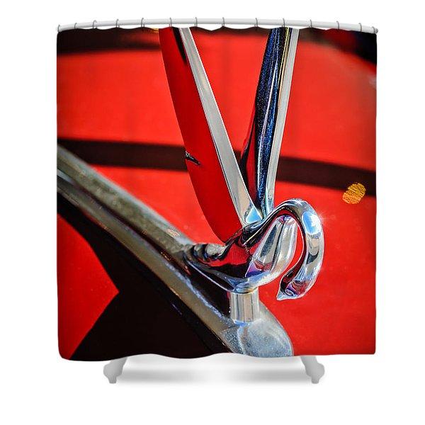 1948 Packard Hood Ornament 2 Shower Curtain by Jill Reger