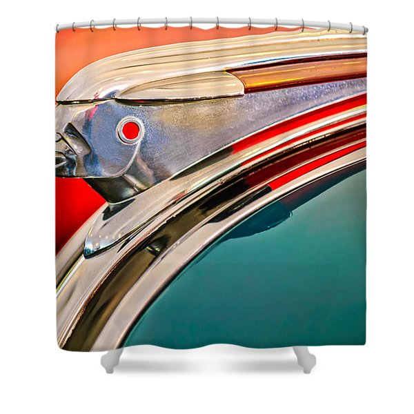 1948 Pontiac Chief Hood Ornament Shower Curtain by Jill Reger