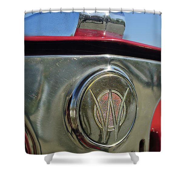 1949 Willys Jeepster Hood Ornament Shower Curtain by Jill Reger