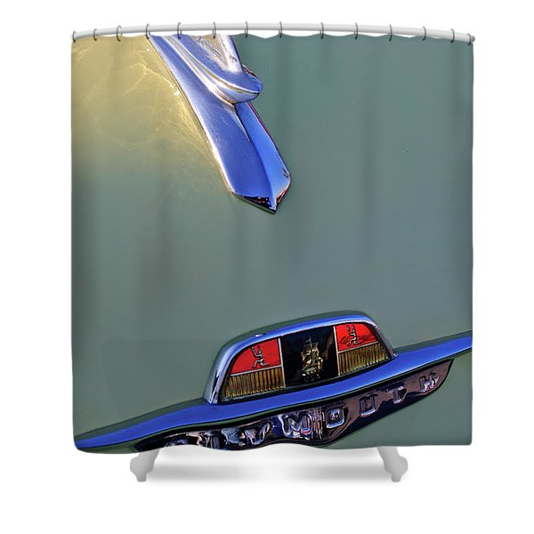 1953 Plymouth Hood Ornament Shower Curtain by Jill Reger