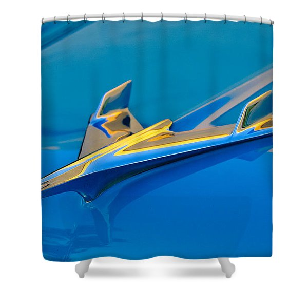 1956 Chevrolet Hood Ornament 2 Shower Curtain by Jill Reger