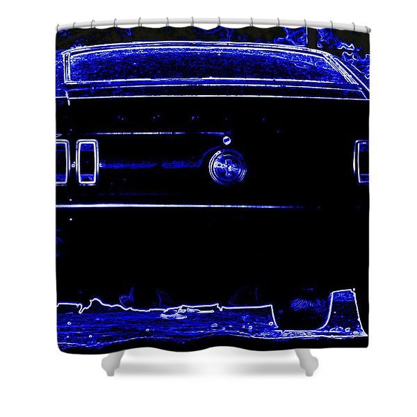 1969 Mustang in Neon 2 Shower Curtain by Susan Bordelon