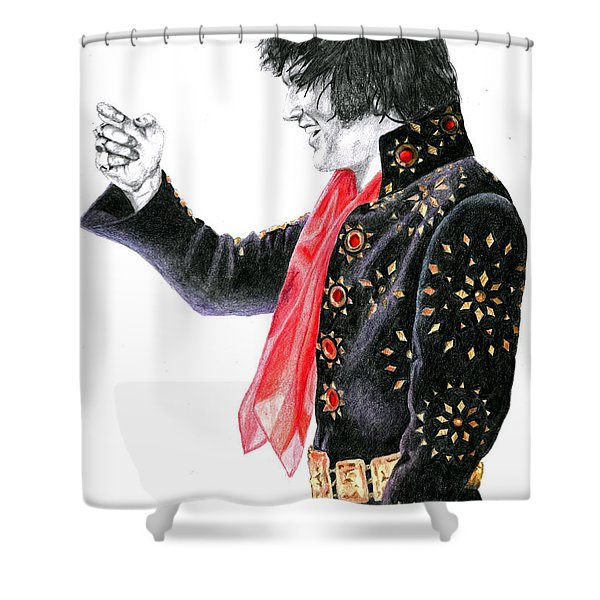 1971 Black Pinwheel Suit Shower Curtain by Rob De Vries