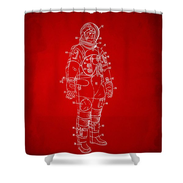 1973 Astronaut Space Suit Patent Artwork - Red Shower Curtain by Nikki Marie Smith