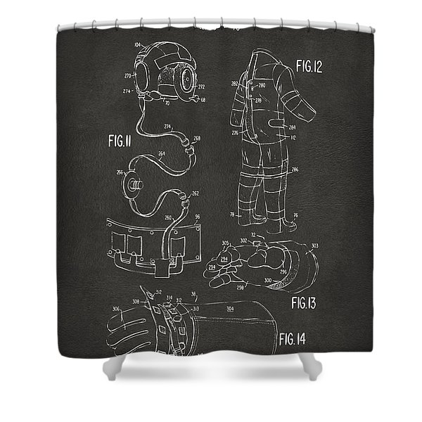 1973 Space Suit Elements Patent Artwork - Gray Shower Curtain by Nikki Marie Smith