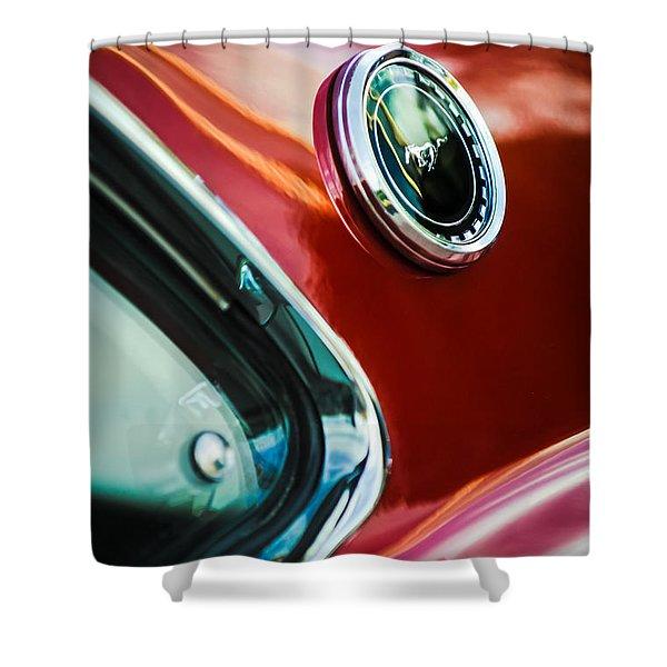 1969 Ford Mustang Mach 1 Emblem Shower Curtain by Jill Reger