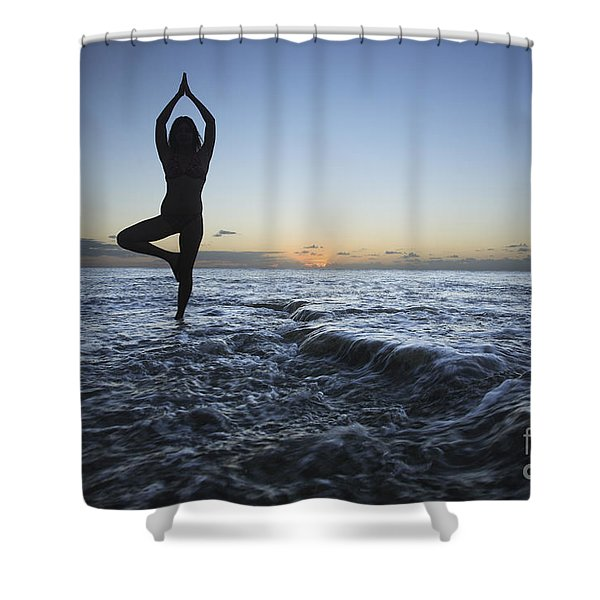 Female doing Yoga at sunset Shower Curtain by Brandon Tabiolo - Printscapes