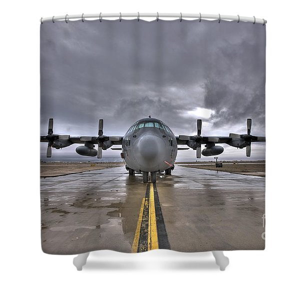 High Dynamic Range Image Of A U.s. Air Shower Curtain by Terry Moore