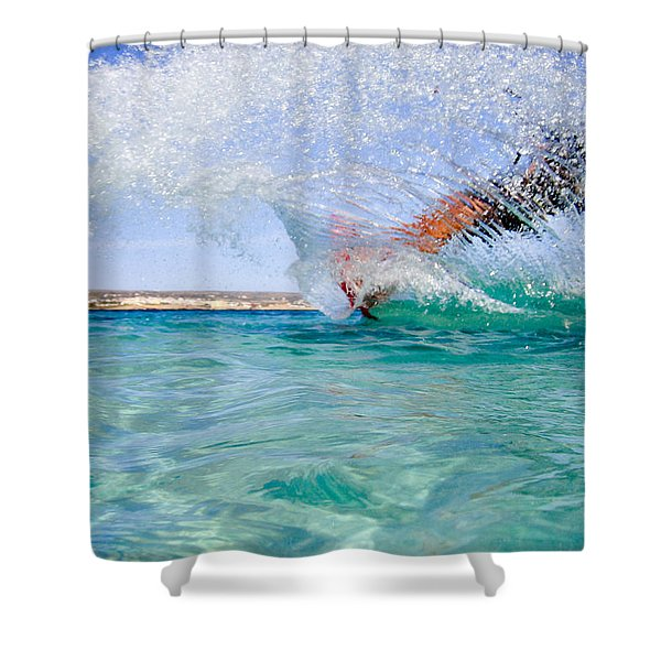 kitesurfing Shower Curtain by Stylianos Kleanthous