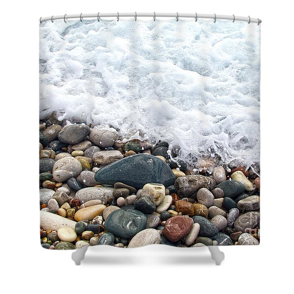 ocean stones Shower Curtain by Stylianos Kleanthous