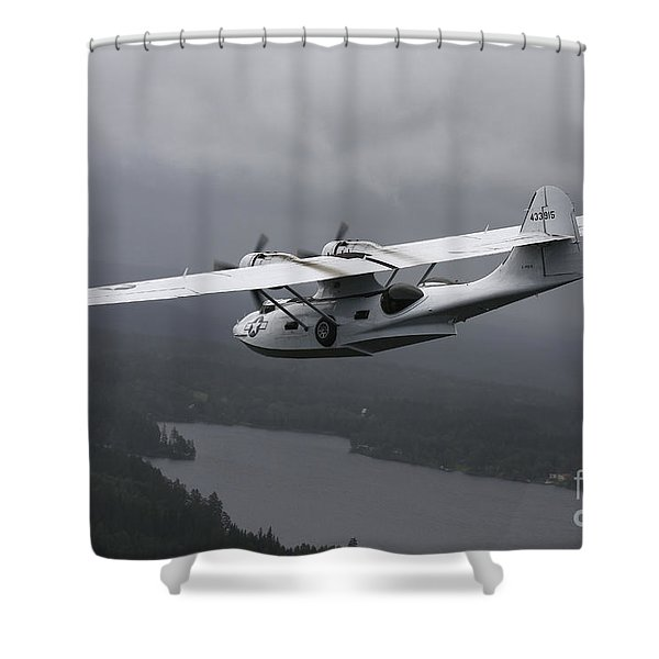 Pby Catalina Vintage Flying Boat Shower Curtain by Daniel Karlsson