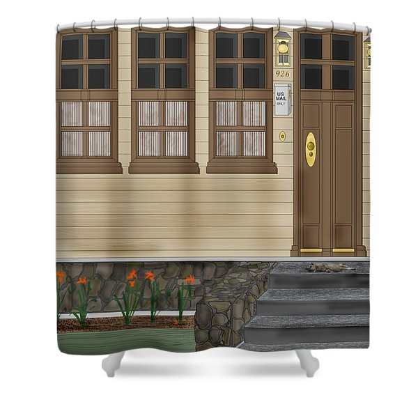 Rags On The Front Steps Shower Curtain by Anne Norskog
