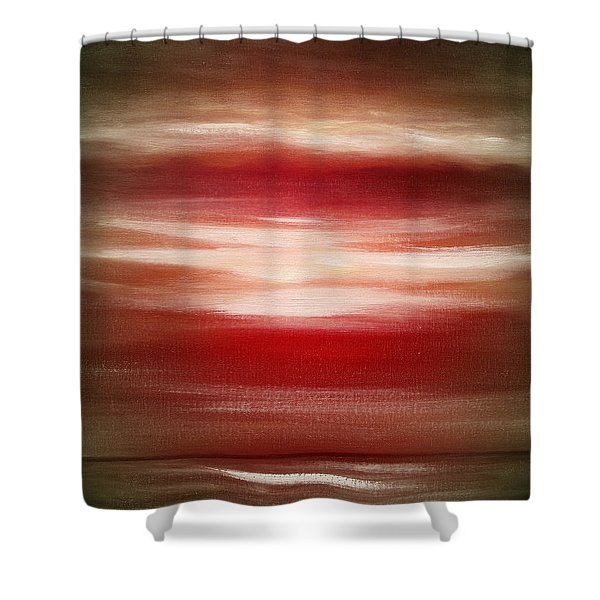 Shower Curtains - Red Abstract Sunset Shower Curtain by Gina De Gorna