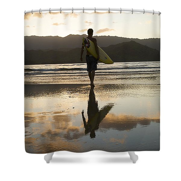 Sunset Surfer Shower Curtain by Kicka Witte - Printscapes