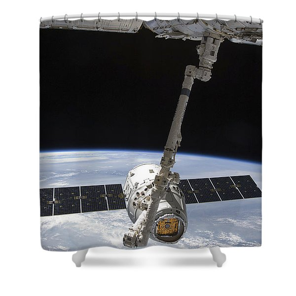 The Spacex Dragon Cargo Craft Shower Curtain by Stocktrek Images
