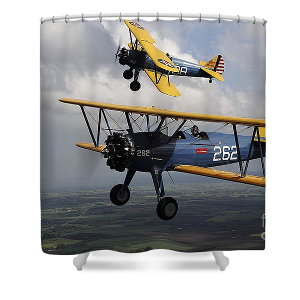 Boeing Stearman Model 75 Kaydet In U.s Shower Curtain by Daniel Karlsson