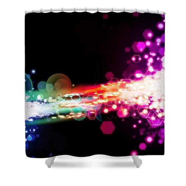 explosion of lights Shower Curtain by Setsiri Silapasuwanchai