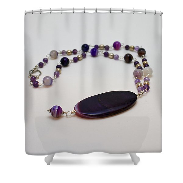 3573 Banded Agate Necklace  Shower Curtain by Teresa Mucha