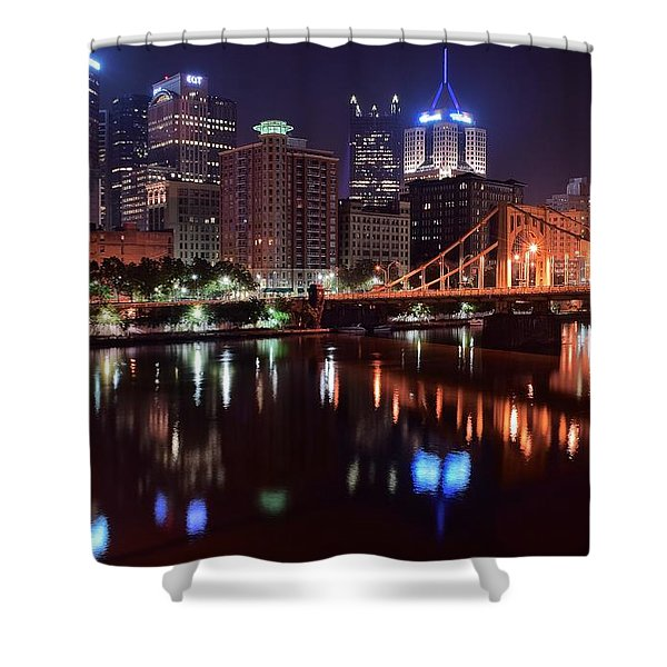 A Pittsburgh Night Shower Curtain by Frozen in Time Fine Art Photography
