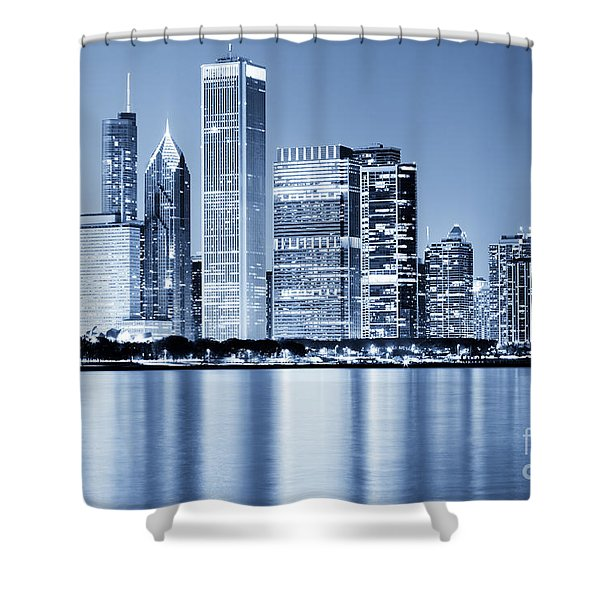 Chicago Skyline At Night Shower Curtain by Paul Velgos