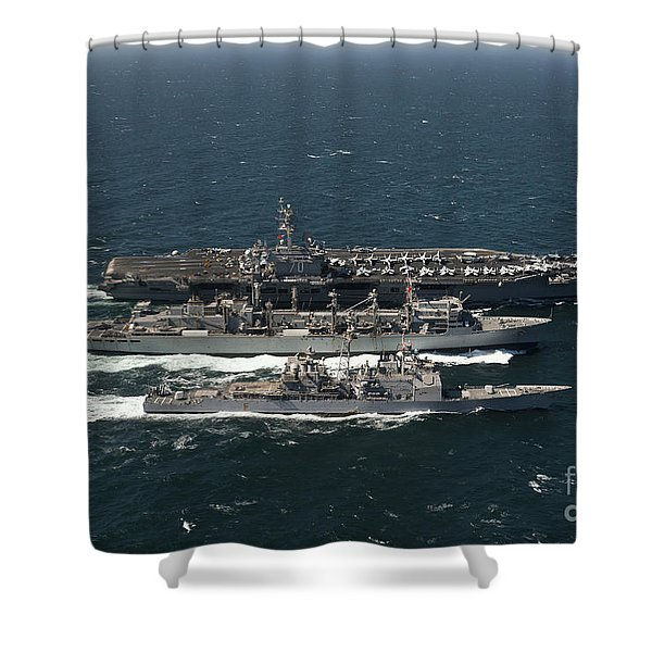 Underway Replenishment At Sea With U.s Shower Curtain by Stocktrek Images