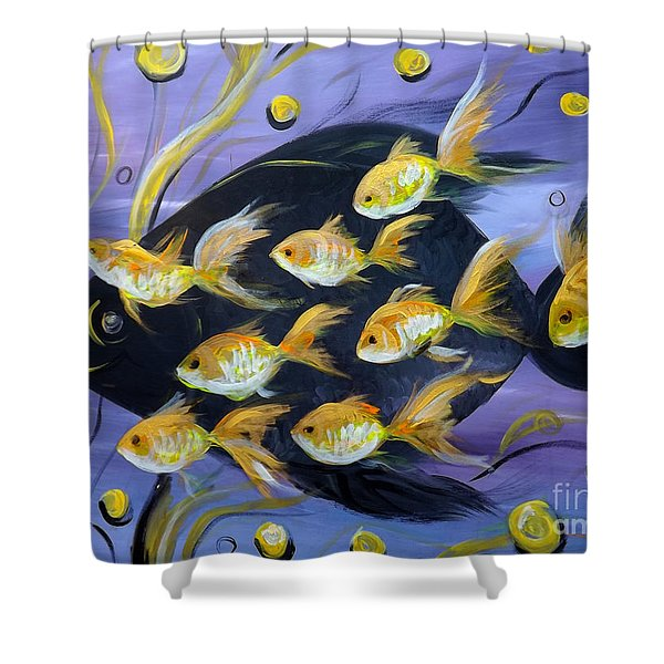 Shower Curtains - 8 Gold Fish Shower Curtain by Gina De Gorna