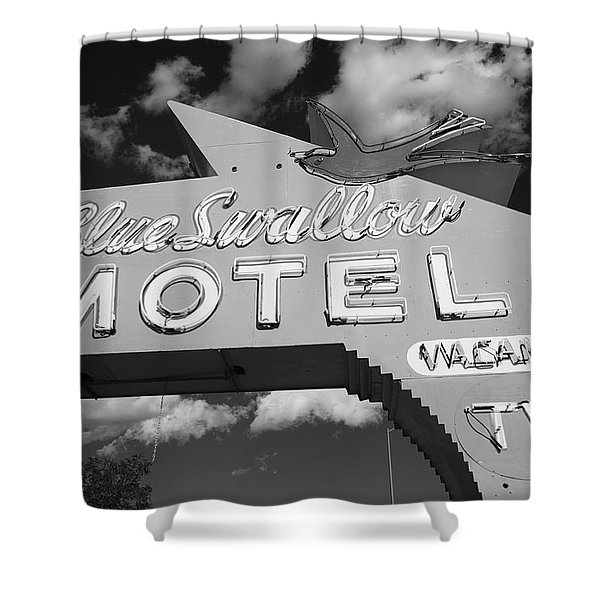 Route 66 - Blue Swallow Motel Shower Curtain by Frank Romeo