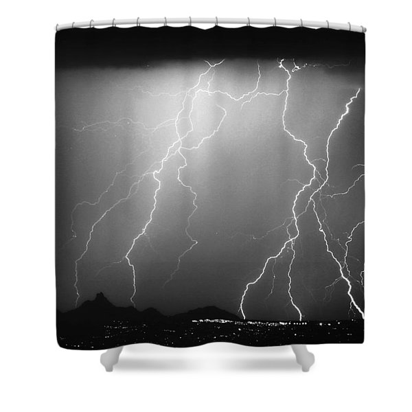 85255 Black and White Shower Curtain by James BO  Insogna