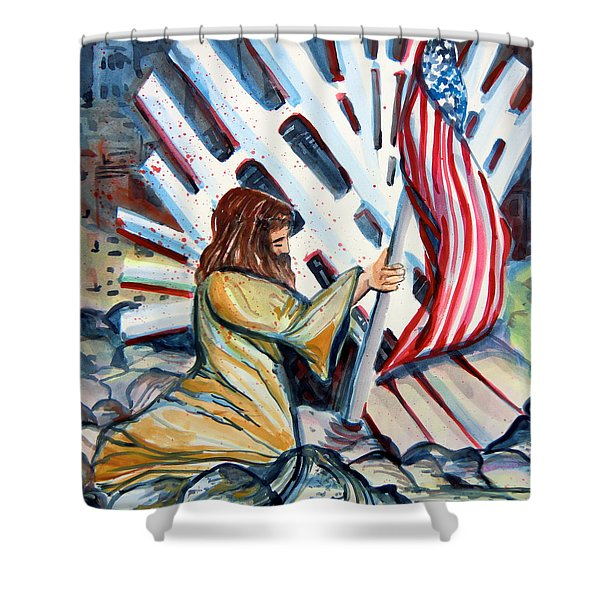 911 Cries for Jesus Shower Curtain by Mindy Newman